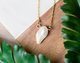 Simple white pearl necklace | Gold plated layering necklace | Gifts for her under 20 | Freshwater pearl jewelry | Dainty pearl necklace |