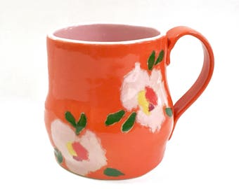SGRAFFITO Carved Mug Lovely FLOWERS Bright Orange Background - Adorable Abstract Design - Coffee Tea Cup Mug
