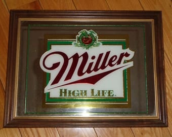 IT'S MILLER TIME!  Vintage Miller High Life Mirror, America's Quality Beer Wall Display in Vintage Condition with well developed patina