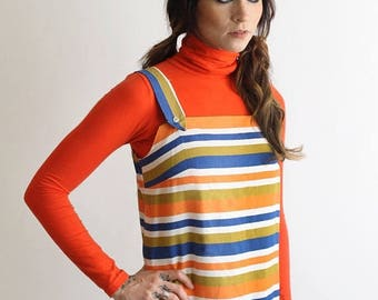 SALE // 1960's Striped Sheath Dress   Vintage Striped Pinafore   Midi Summer Dress   Candy Stripe Dress   Retro Pinafore Dress   Minimal Jum