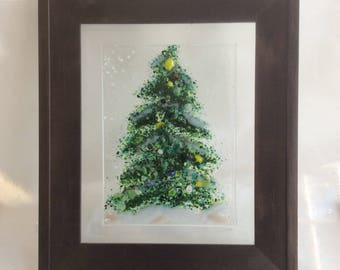 Framed Fused Glass Tree Wall/Window Hanging