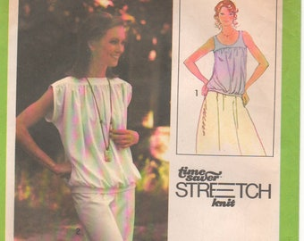 1979 - Simplicity 8890 Vintage Sewing Pattern Sizes 6/8/10 Pullover Top Sleeveless Gathers Stretch Knits Time Saver