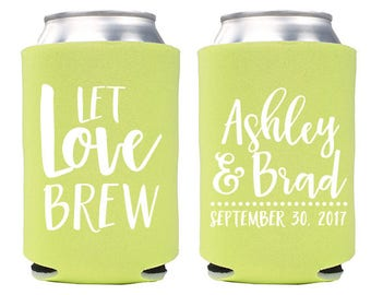 Custom Wedding Favor - Let Love Brew Can Coolers