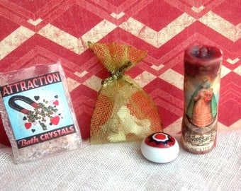 RESERVED Miniature Voodoo Ritual Decor 1/12 scale prayer candle, grisgris priest priestess mojo conjure bag bones evil eye talisman spells
