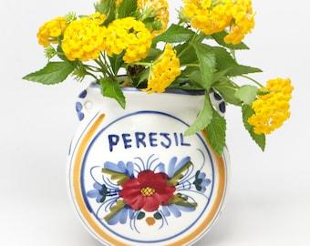 Vintage PEREJIL Portugal Art Wall Pocket Vase, Antique Hand Painted Cottage Chic, Parsley, Flowers
