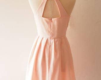 Love Potion - Pale Peach Dress Vintage Sundress Peach Pink Party Dress Audrey Hepburn Inspired Backless Dress Bridesmaid Wedding Prom Dress