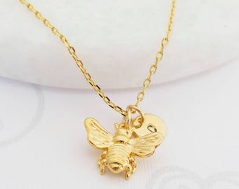 Bumble Bee Necklace, Bee Necklace, Gold Bumblebee Necklace, Initial Necklace, Personalized Bee Necklace, Honey Bee Necklace, Gift for her