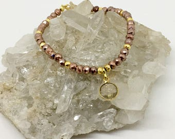 Rose Gold Pyrite and Copper infused Quartz Bracelet