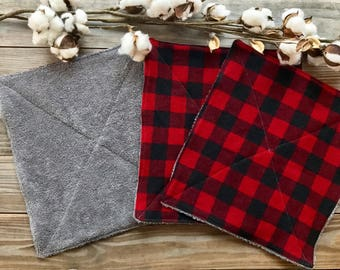 UnPaper Kitchen Towels Buffalo Check Plaid Flannel and Terry Cloth Set of 10