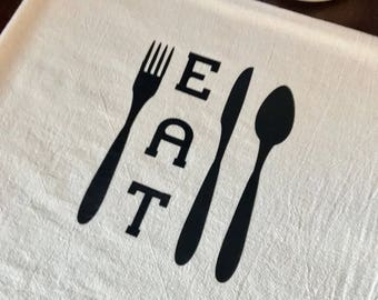 """Flour Sack Towel Feed Sack Kitchen Tea Towel """" Eat """""""