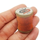 Orange Cotton Reel Tailor Dress Maker Sewing Cross Stitcher Brooch Pin Badge Jewellery Gift For Her Stocking Filler Jewellery Accessories