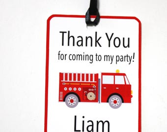 Set of 12 Personalized FireTrucks Thank You Party Favor Tags, Happy Birthday Party, Fire Engine, Party Decorations, Party Paper and Supplies