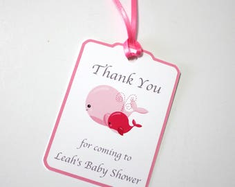 Set of 12 Thank You Baby Shower Party Favor Tags, Pink Whales Personalized Party Favors Tags Thank You Gift Tags, Party Supplies