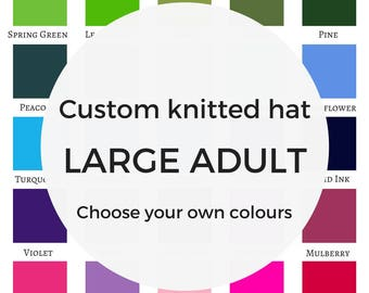 Custom hat - LARGE ADULT, knitted beanie hat, personalised gift, mens christmas gift, knit accessories, large hats, gift for husband