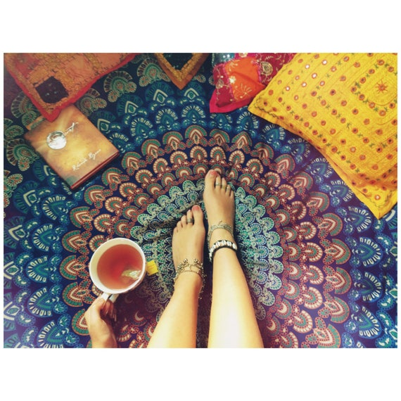 ORANGE & BLUE THROW - Mandala Wall Hanging - Bohemian Throw - Bed Sheet - Hippie Blanket - Beach Towel - Shabby Chic - Mandala - Homeware