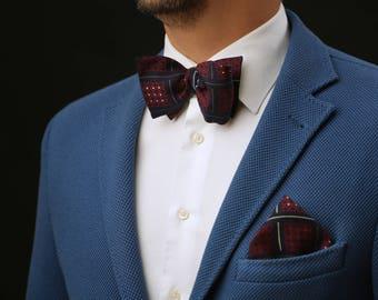 Navy Blue Wedding SET Self Tie or Pre Tied Bow Tie + pocket square