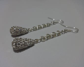 Clear Rhinestones Tear Drop Holiday Earrings