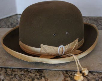 Vintage European Ladies Woman's  Brown Bowler Derby Hat by Borlin