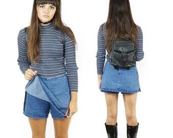 ON SALE Zip-Up 90s Denim Skort, Mid Rise Mini Skort, 90s Grunge Jean Skirt, Schoolgirl Skirt, Kid's X-Large, Women's Size Small