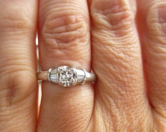SALE  HEAVY 4.5 grams platinum and princess cut wedding set   65 points total weight engagement ring