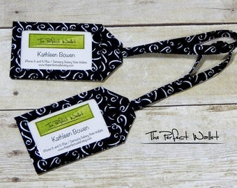 Luggage Tags-Fabric Baggage Tags-ID Tag- Fabric Baggage ID Luggage Tags-Set of TWO Black and White Luggage Tags