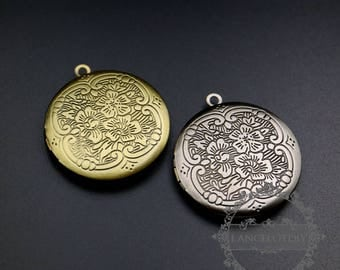 5pcs 32mm brass bronze,antqiued silver flower engraved round photo locket pendant charm 1111073