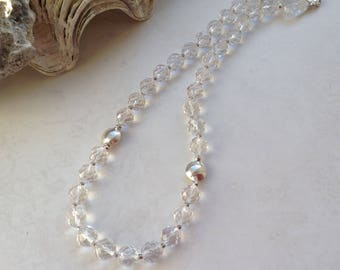 Silver Necklace Clear White Quartz Rock Crystal Stone Collar Choker Necklace