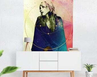 Stevie Nicks Woven TAPESTRY Wall Art Home Decor, Boho Style Dorm Decor, Large Hippie Wall Hanging, Stevie Nicks Art Print Fleetwood Mac Gift