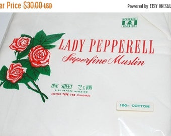 weekend sale Lady Pepperell old stock  sheet white vintage sheet sealed in package made in Boston Ma