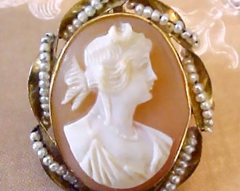 Gorgeous 10K Gold Antique Cameo Brooch/ Pendant of Goddess Diana Surrounded by Seed Pearls
