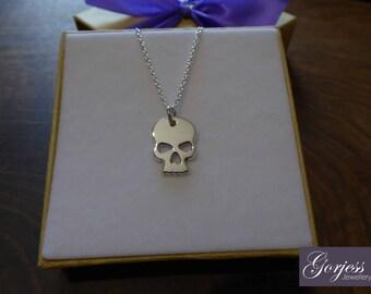 Silver Skull Pendant - Skull Necklace - Handmade Skull Charm
