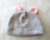 Gray mouse fleece hat