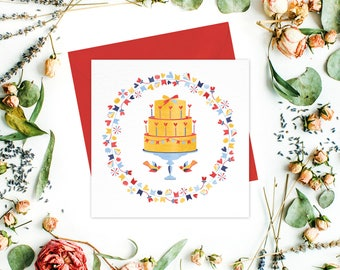 Birthday greeting card / greeting cards set - Birthday Card, Anniversary Card, Yellow Stationery, Gift Cards, Square Blank Cards