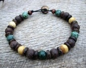 Mens surfer bracelet, tree agate, bone, wood and coconut shell beads, on strong cord, tribal style jewelry, beaded bracelet, one of a kind
