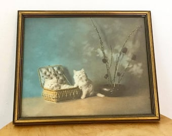 Vintage 1970s fluffy white cats lithograph wall decor