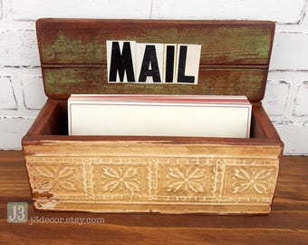 Home Mail Organizer Box, Wall Hanger or Table, Cream and Olive Green Distressed Paint, Salvaged Wood, Repurposed Vintage Tin Letters