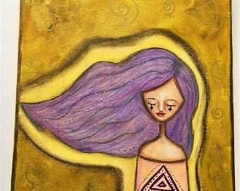 Air Elemental Girl Art Work. Mixed media artwork. Original Art for Sale, Original Art Work, Fine Art, Original Painting, Gift Women