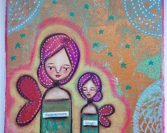 A Cute Pair of Aura Angels Art Work. Mixed media artwork. Original Art for Sale, Original Art Work, Fine Art, Original Painting, Gift Women