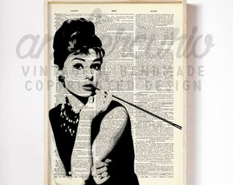 Breakfast At TIffany's Audrey Hepburn Classic Beauty Black and White Print on Unframed Upcycled Bookpage