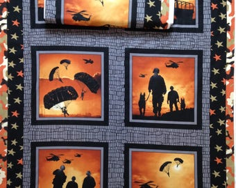 Military Army Defenders of Freedom, troopers, parachute, helicopter, star camouflage border, 4 different picture in panel, American soldier