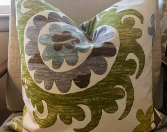 Green, Brown, Blue  and Ivory Floral Medallion Pillow Covers / Designer Fabric / 20 x 20 / Handmade Home Decor Accent Pillow