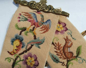 Vintage Handmade Woodland Animal Cross Stitch Tapestry Wall Hanging- Squirrel Bird Flowers Shabby Chic Long Vertical Banner Colourful Brown