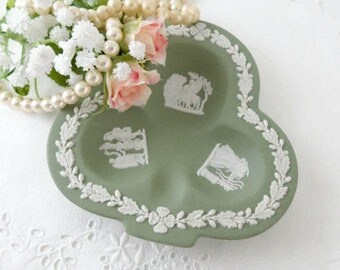 Vintage Wedgwood, Sage Green Jasperware, Trinket Dish, Club Shaped Ashtray, Made in England, Vintage Stoneware Dish, Collectible Dish