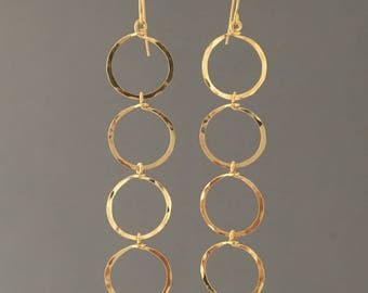 Gold Cascading Four Circle Hoop Earrings