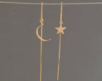 Star and Moon Box Chain Threader Earrings in Gold or Silver