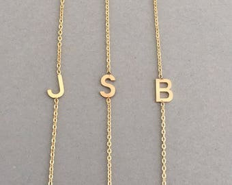 Sideways Initial Gold Necklace