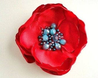 Large Red Silk Flower Brooch for Summer, Pin on Fabric flower for Dress, Bag, Hat, Sash Red and Blue Beaded Broach Women, Floral Woman Gift