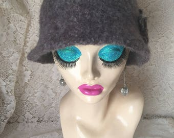 Dark Beige Marle Vintage Inspired Crocheted Felted Cloche Flapper Hat 'Molly'