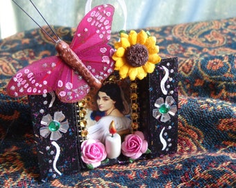 Hera Juno MatchBox Shrine Ornament. Travel Altar. Altered Art. Mixed Media.