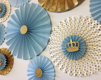 Little Prince Party Paper Fan Backdrop | Baby Blue and Gold Birthday | Royal Prince Baby Shower | Blue and Gold Crown Paper Rosettes